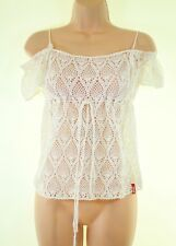 MISS SIXTY ivory cream crochet knit see through boho blouse size M fits 8 - 10