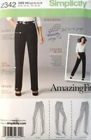 Simplicity 2342 Amazing Fit Pants slim average curvy size 6-14 sewing pattern