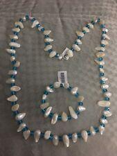 Ponticelli Bianco Keshi Pearl, Collana di vetro blu (misura 32) e bracciale (Taglia 7.50)