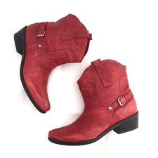 Women's Franco Sarto Red Leather Cowboy Boots size 9