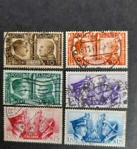 Italy stamps six values. 1941 brotherhood of arms. Good used. 10c - 1.25l