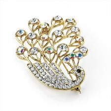 Tone Brooch Pin Corsage Costume Jewellery Clear and Ab Crystal Swan Motif Gold