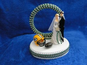 NEW GREEN BAY PACKER BRIDE AND GROOM WEDDING CAKE TOPPER, 3 CHOICES