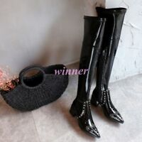 Punk Womens Pointed Toe Leather Block Heels Side Zippers Over Knee High Boots ha