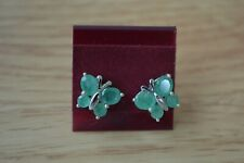 1.60ct Socoto Emerald Butterfly Earrings Platinum over Sterling Silver ~ Nice