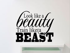 Gym Motivational Wall Decal Beast Beauty Fitness Sport Vinyl Sticker Mural 139ex
