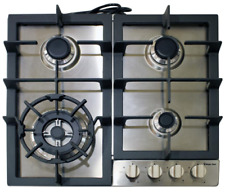 """New listing Stainless Steel 24"""" Gas Cooktop Electronic Ignition Cast Iron Grates w/ 4-Burner"""