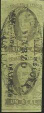 "J) 1861 Mexico, Hidalgo, Un Real, Vertical Pair, Oval Cancellation, ""Admon Gral"