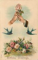 Lady's & Man's Hands Grasp Single Rose~Blue Birds~Pink Yellow Roses~Emb~Ser 611