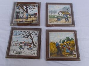 4 vintage 1970's European  framed  ceramic tiles ,the 4 Seasons Tile Paintings,