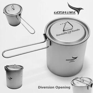 Goshawk Titanium Kettle 750ML For Outdoor Hiking Camping Pot Cookware