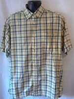 Wrangler Hero Mens Shirt Size XL Yellow Multicolor Plaid Short Sleeve Button Up