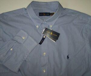 NWT Ralph Lauren 100% COTTON STRETCH Blue/White MINI-STRIPE Shirt 4XLT Polo Pony
