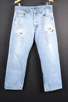 VTG LEVI'S 501 Button Fly Thrashed Denim Jeans Mens Size 36x33 Actual (34x30)