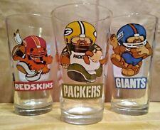 3 Vintage 1980s NFL Huddles Pint Glasses Packers Redskins Giants