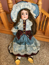 Early old antique German Germany Kestner bisque head doll w/ French dress & hat