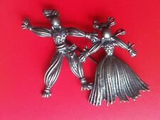 Vintage STERLING SILVER PIN BROOCH Gypsy Scarecrow Dancers male female figures