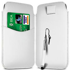 CARD SLOT PU LEATHER PULL FLIP TAB CASE COVER & RETRACTABLE PEN FOR SONY PHONES
