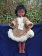 """Vintage Regal Canada 18"""" Jointed Eskimo Doll in Fur Dress w Rooted Hair"""