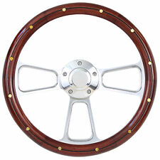 Wood & Billet Steering Wheel 1969 to 1994 Chevy, Pontiac, Olds, GM, Caddy, Jeep