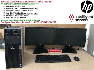 "HP Z620 Workstation 2x E5-2620 6-Core, 16GB, 1TB HDD, NVS 300, 2x  20"" Monitor"