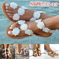 Womens Boho Flowe Sandals Ladies Summer Holiday Beach Flip Flop Flat Shoes 2019