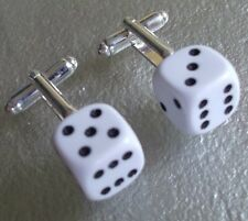 LUCKY DICE DOUBLE 6 CUFFLINKS WHITE CASINO GAMBLING ROLL OF THE DICE 60S MOD NEW
