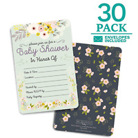 Baby Shower Floral Invitations - 30 Cards and Envelopes for Baby Girl