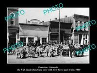 OLD 8x6 HISTORIC PHOTO OF GUNNISON COLORADO HARDWARE STORE & PACK TRAIN c1880