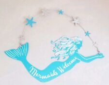 "Mermaid Welcome Beach Blue Metal Sign Wall Art Decor 9.5""x7"" Gift"
