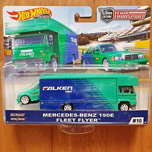 Hot Wheels TEAM TRANSPORT #10 MERCEDES-BENZ 190E & FLEET FLYER - FALKEN TIRES **