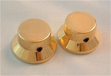 Guitar KNOBS - Metal TOP HAT Bell Skirt - Set of 2 - GOLD