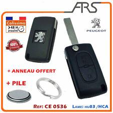 Coque  Clé 2 boutons CE0536 PEUGEOT 207 307 308 3008 5008  + logo+pile+anneau