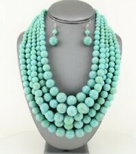 Multi Layers Turquoise Lucite Bead Bead Bib Necklace Set Statement