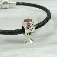925 Sterling Silver Red Wine Glass Charm - Large Hole Bead for European Bracelet