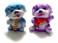 Pair of Two Spray Painted Waving Sitting Dogs Blue and Purple Brings Good Luck