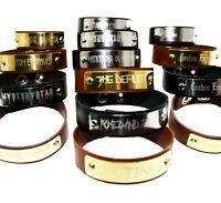 Personalized Custom Engraved Leather Bracelet Wristband Gothic Steampunk Gift