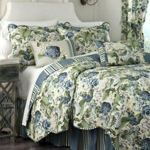 Waverly Floral Flourish Striped Reversible Scalloped Pillow Shams Porcelain NEW