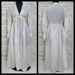 J Peterman Victorian Cottage Core Renaissance White Eyelet Cotton Nightgown