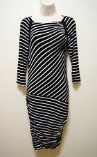 COUNTRY ROAD DRESS BLACK WHITE STRETCHY RUCHED DRESS, Sz XS/6/8