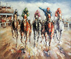Thoroughbred Horse Race Track Sport Kings 20X24 Oil On Canvas Painting STRETCHED
