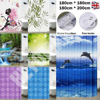 100% POLYESTER FABRIC MODERN DESIGNER WASHABLE SHOWER CURTAIN + 12 HOOKS 180*180