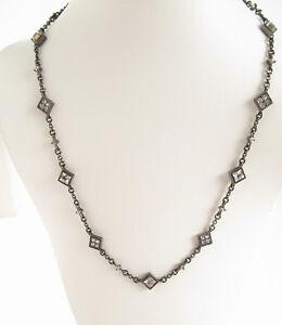 Lauren Ralph Lauren Hematite Tone Square Crystal Necklace White $78