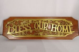 """Vintage Bless Our Home Metal & Wooden Wall Art Hanging Sign 17"""" L x 5 1/4"""" H"""