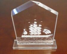 Etched Clear Plastic Sailing Ship Paperweight