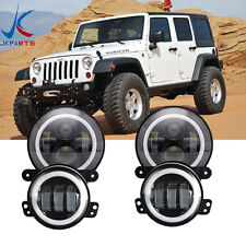 LED Halo Headlights + LED Fog Light DRL Combo Kit For Jeep Wrangler JK 2007-2017