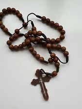 Rosary beads wooden Cross necklace pendant chain. Brown metal cross holy love