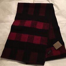 BURBERRY Half Mega Red Black Check Scarf Cashmere Wool Winter Scotland NWT