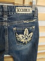 ROCK & ROLL COWGIRL MEDIUM WASH Boot Cut Jeans Size 27 x 32 Bling Embellished!