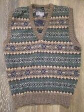 NWT Vtg Lands End Women's L Vest Sweater Fair Isle Shetland 100% Wool Scotland